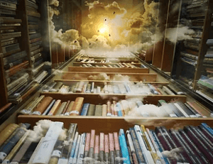 Akashic Records library with clouds and light