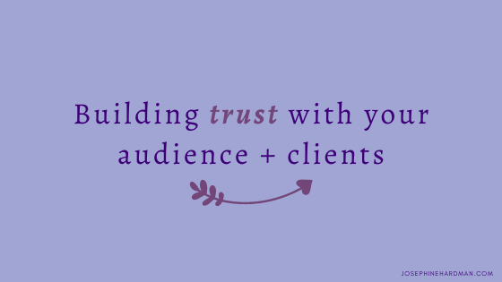 blog post title banner building trust in spiritual business with heart arrow