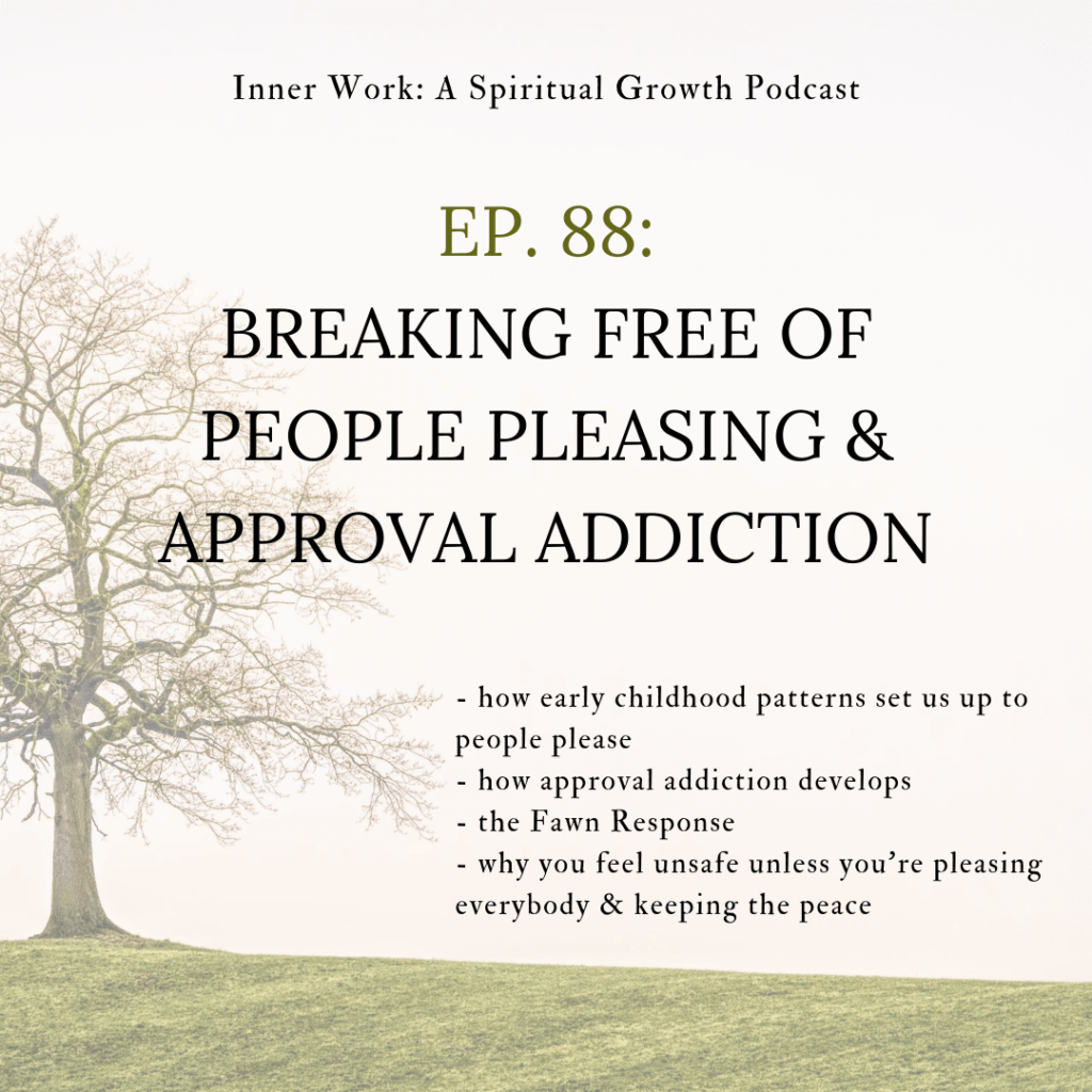 image of spiritual podcast tree and text people pleasing