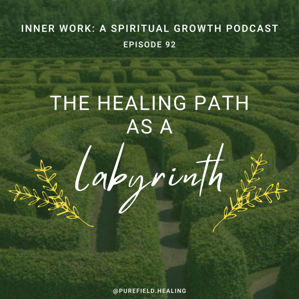 green labyrinth with white words healing path as labyrinth spiritual podcast