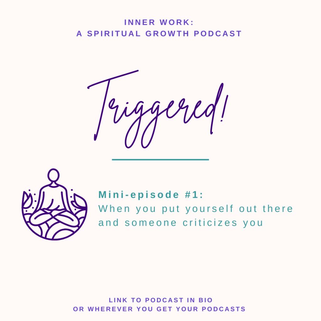 light background purple font Triggered spiritual podcast