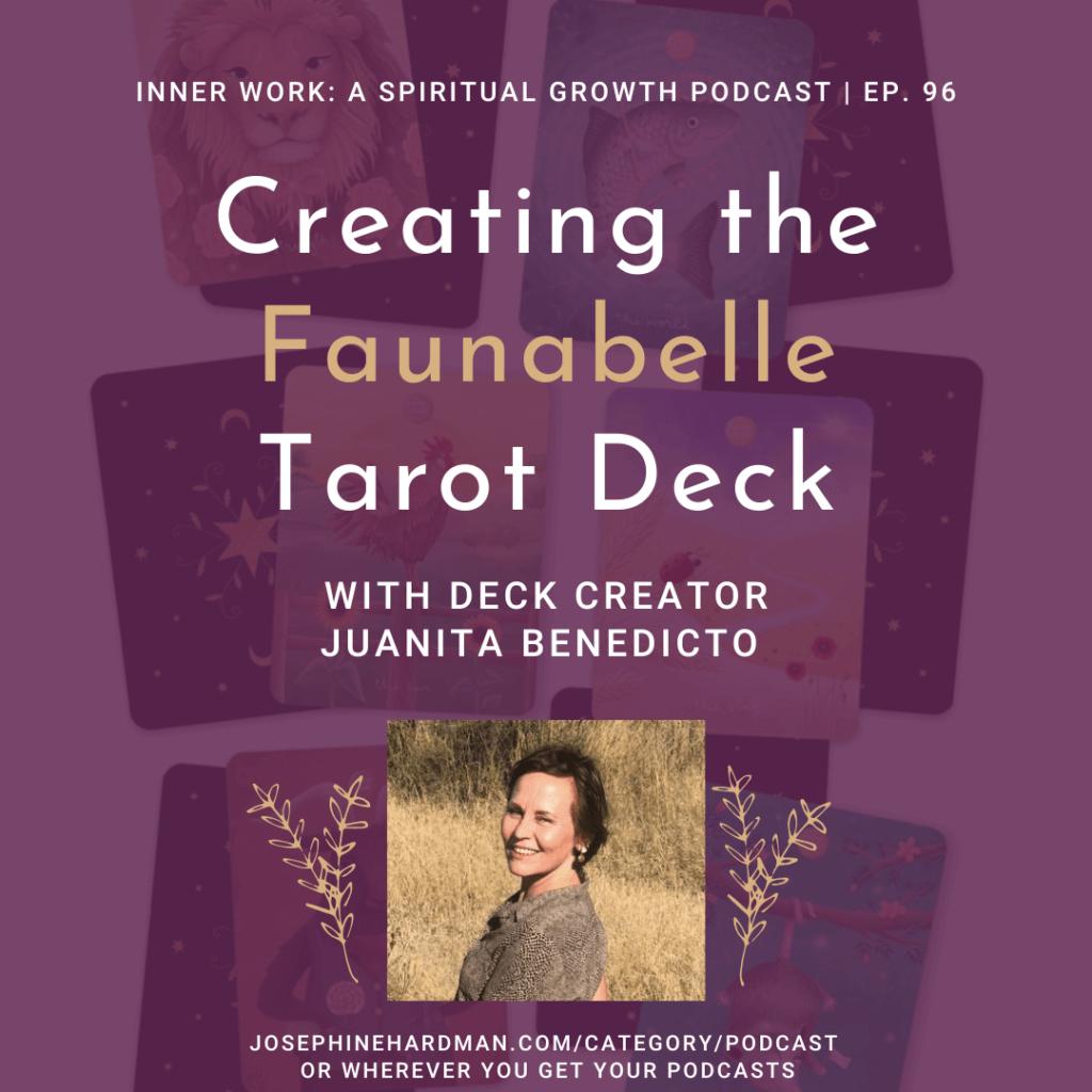 crimson background woman smiling spiritual podcast tarot deck