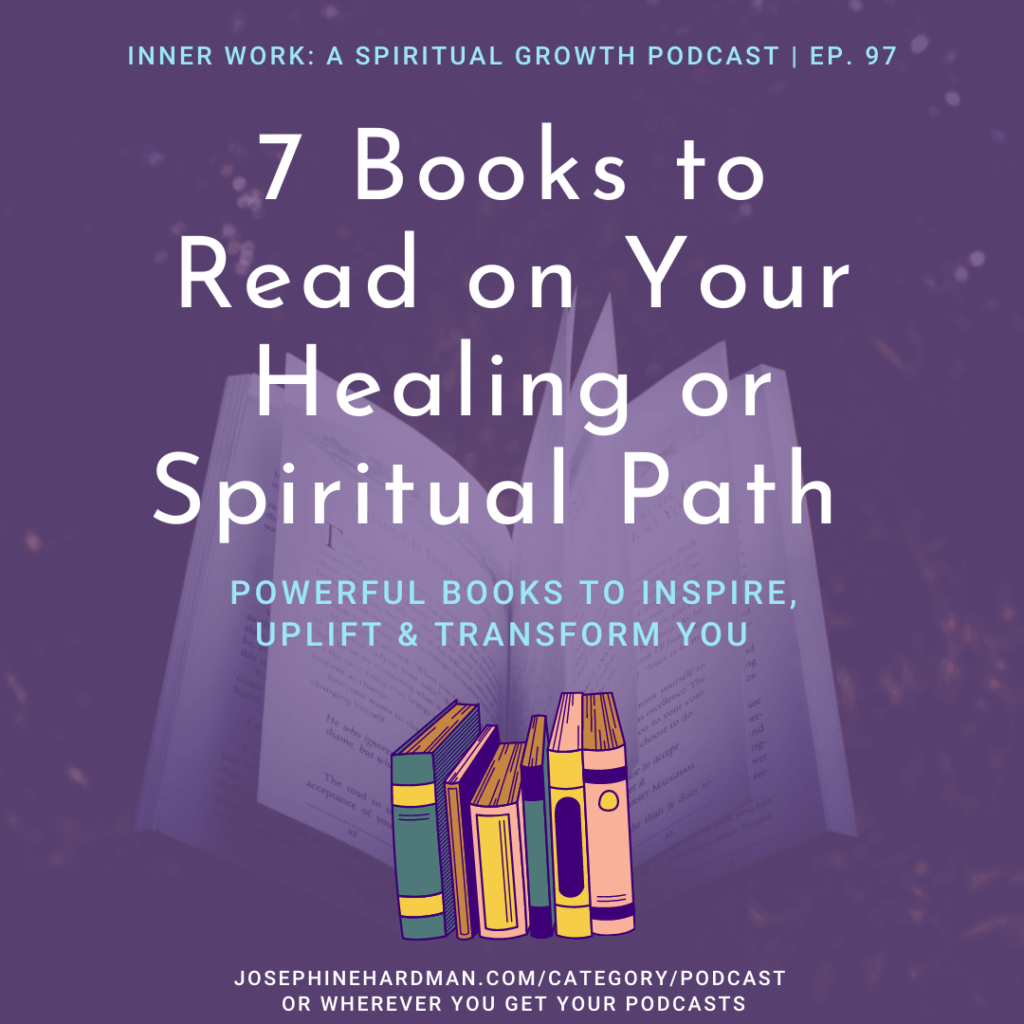 purple background with books spiritual podcast healing
