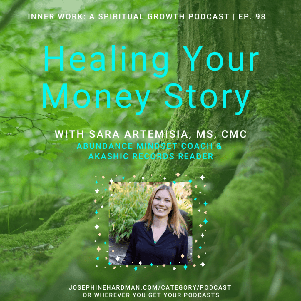 green forest healing your money story spiritual podcast in green font