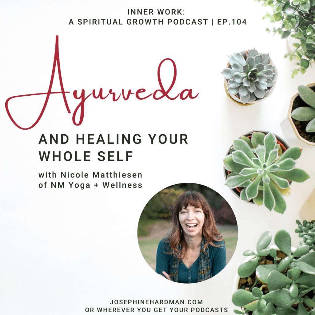 spiritual podcast white background with plants Ayurveda