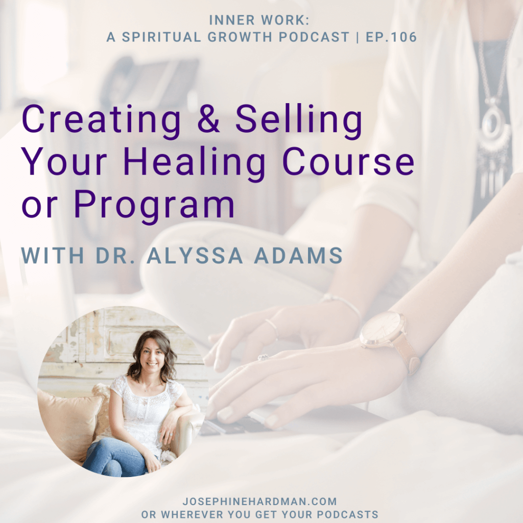 spiritual podcast woman typing on computer creating course or program