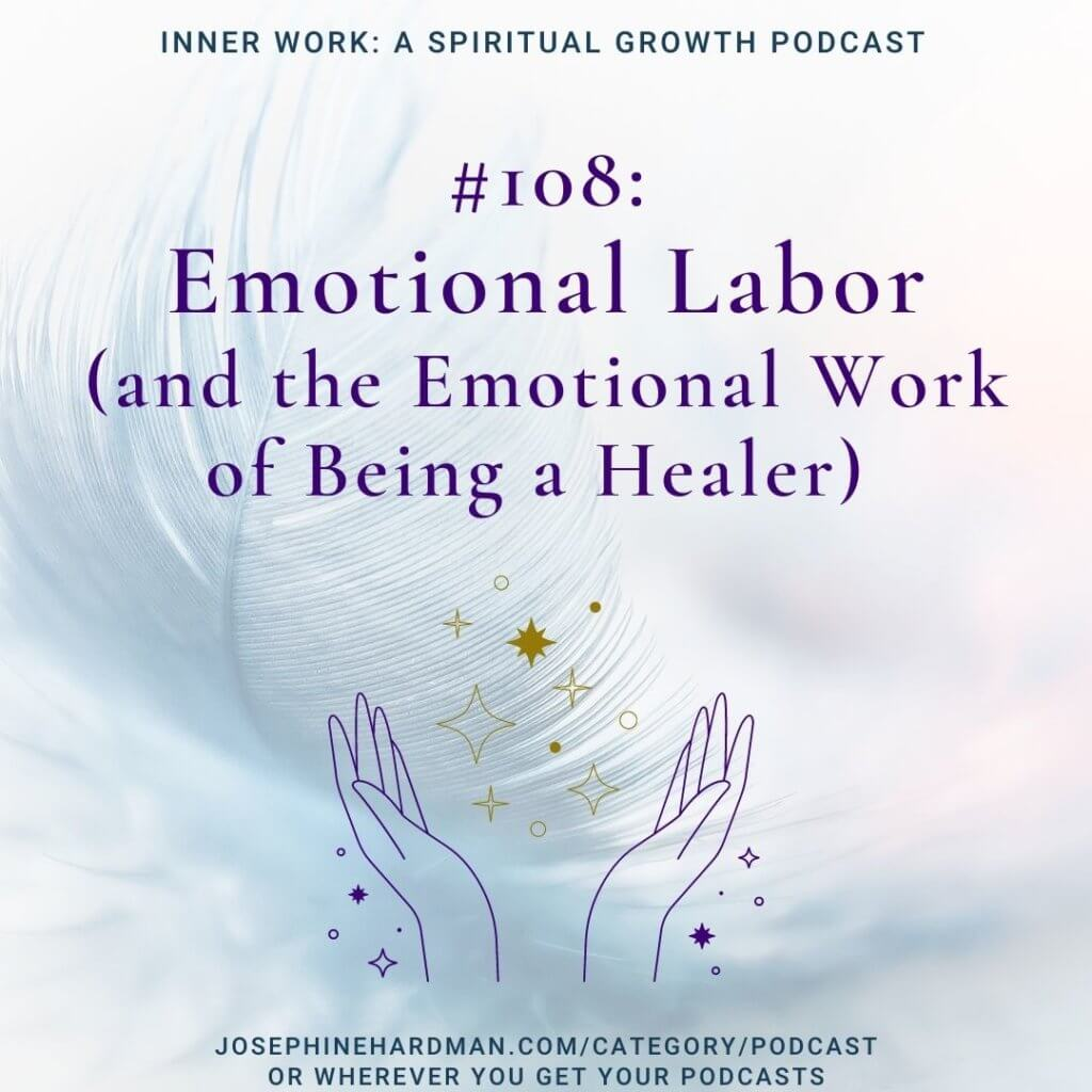 feather background open hands spiritual podcast emotional labor