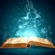 open Akashic Records book with blue light